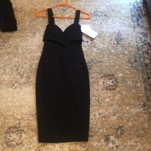 Black Midi Dress with cut outs Size XS NWT